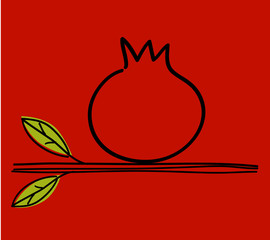 Pomegranate With Hebrew Text - Happy New Year, Postcard