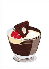 crema vestita al cioccolato con ribes