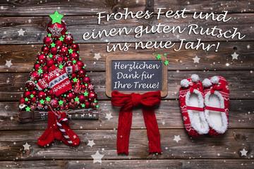 Weihnachtskarte rot für Geschäftskunden und Kunden
