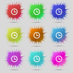 Clock sign icon. Mechanical clock symbol. Set colourful buttons