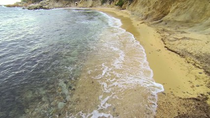 Aerial Drone View Mediterranean Beach