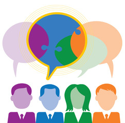Business People with speech bubbles-collaboration