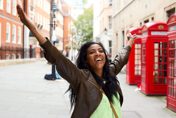 happy woman in London