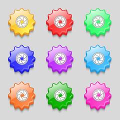 diaphragm icon. Aperture sign. Set colourful buttons. Vector