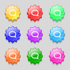 Speech bubble icons. Think cloud symbols. Set colourful buttons