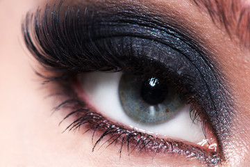 Closeup female eye with beautiful makeup.