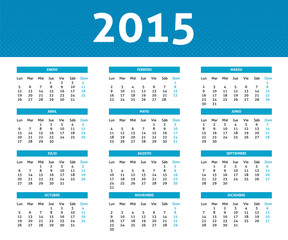 2015 calendar in blue halftone style (Mo to Su) in Spanish