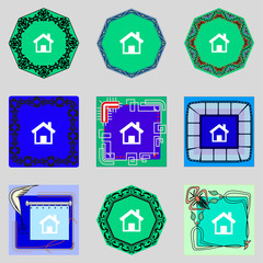 Home sign icon. Main page button. Navigation symbol. Set