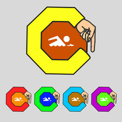 Swimming sign icon. Pool swim symbol. Sea wave. Set colourful