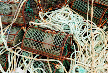 Ropes and octopus traps at the port