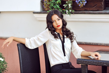 Beautiful female model posing outdoor