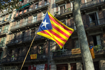 Flag of Catalonia on the Barcelona buildings background