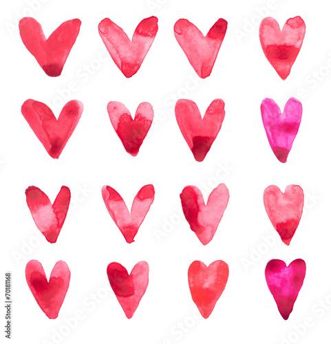 Leinwanddruck Bild Set of hand draw watercolor aquarelle art paint love red heart