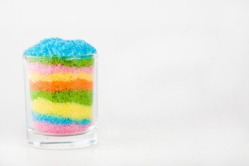 Sugar in glass on white blackgroud