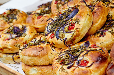 Mini focaccia bread with rosemary