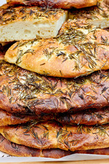 Focaccia bread with rosemary at the market