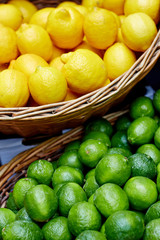 Lemons and limes at the market