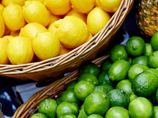 Mix of lemons and limes at the market