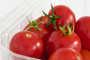 Close up Cherry tomatoes in retail packaging
