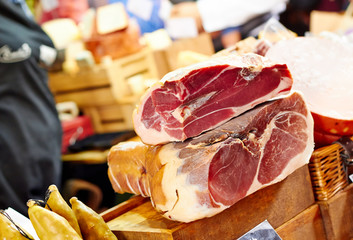 Prosciutto meat at the market