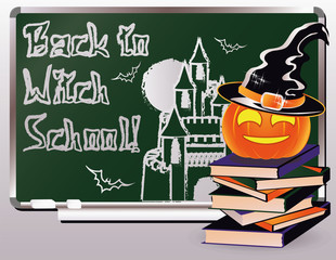 Back to Witch School. Invitation card with books and pumpkin