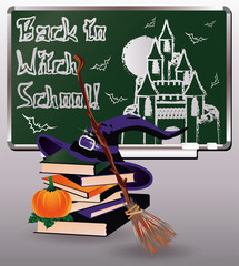 Back to Witch School. Greeting card with books, vector