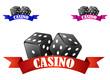 Casino dice symbol or badge with dice