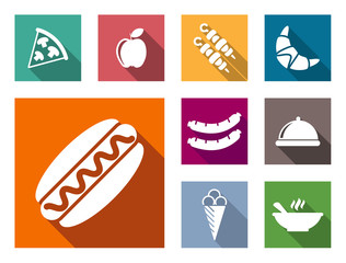 Flat colorful food icons