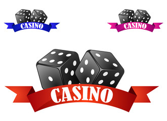 Casino dice symbol or badge with dice