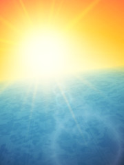 Sunset at sea, horizon with summer sun