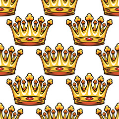 Seamless pattern of medieval royal crowns