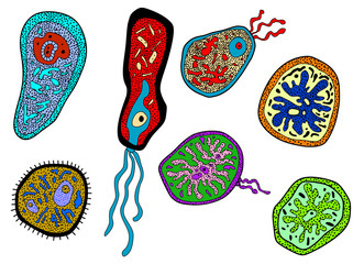 Colorful amebas, amoebas, microbes and germs set