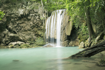 Erawan Waterfall in the deep forest