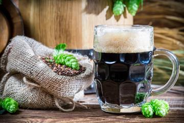 Dark beer made of malt caramel