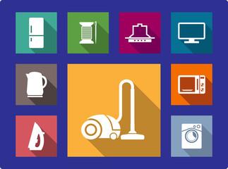 Household equipment flat icons set
