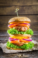 Burger made from vegetables and beef