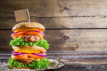 Homemade double-decker burger