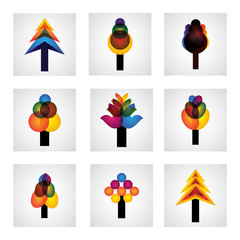 abstract trees icons of pine, christmas - vector graphic
