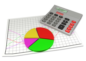 calculator and circle diagram on financial chart paper