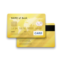 Set of detailed glossy gold credit card with two sides