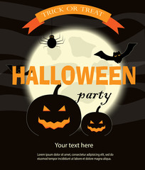 Halloween Party Design template, with pumpkins, bats  and place