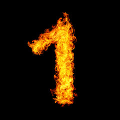 Number One made from fire flame