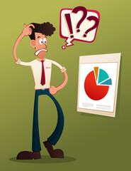 young businessman analyze business result