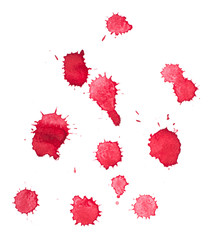Abstract watercolor aquarelle hand drawn red blood drop splatter