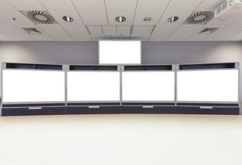 Empty Video Conference Room with isolated white screen