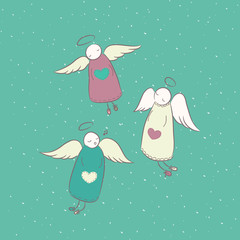 Christmas characters. Set of angels for design or postcard