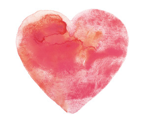 Hand draw watercolor aquarelle art paint love red heart