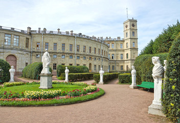 Antique statues in the garden next to Palace in Gatchina