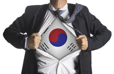 South Korea Flag with businessman showing a superhero suit