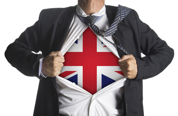 United Kingdom Flag with businessman showing a superhero suit